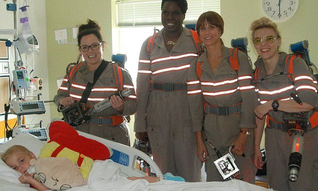 Ghostbusters cast visit Boston children's hospital in costume