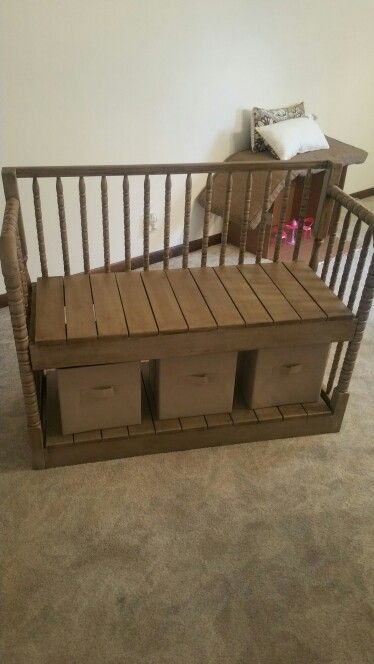 Repurposed crib / bench by Crafty Lefty