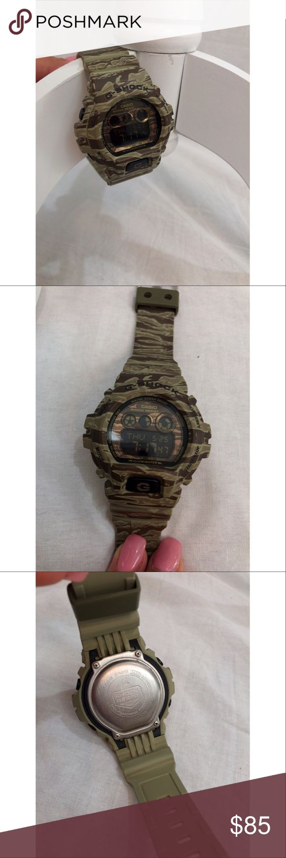 SALE.  G Shock Casio Men's Watch GDX-900CM G Shock Casio Men's Watch. Model # GDX-900CM. Color is Green Camo. This watch retails for $107 on amazon. Brand new watch, not used. Features- 3 multi functioning alarms, auto led backlight, world time, full auto calendar, 200 m water resistance, and a lot more. Please read through the specifications on the 7th photo. Adjustable wrist band closure, shock and water resistant. Steel caseback G-Shock Accessories Watches