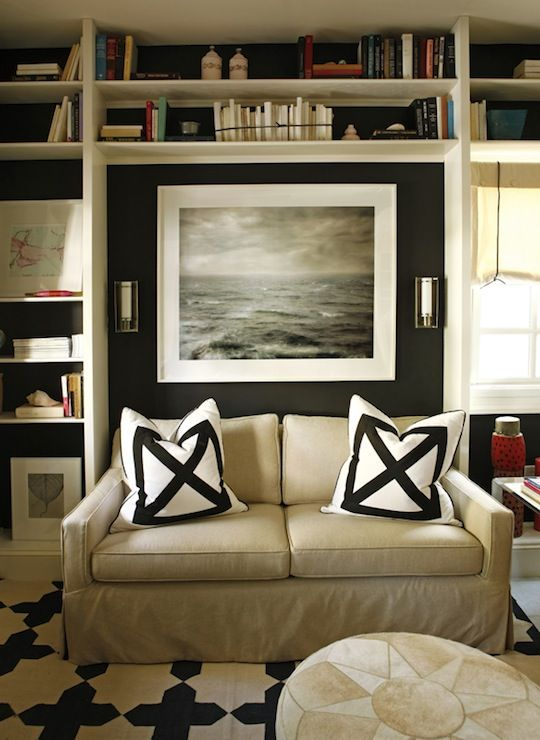 Madeline weinrib black white wes cotton carpet interior for Black and white wall to wall carpet