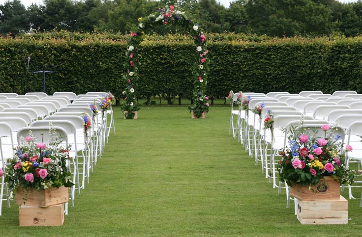 All ready for an outdoor wedding ceremony at Wedderburn Castle. Contact The Stockbridge Flower Company, Edinburgh for more details
