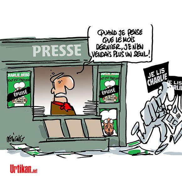 Charlie Hebdo : les kiosques dévalisés dès l'ouverture - Dessin du jour - Urtikan.net