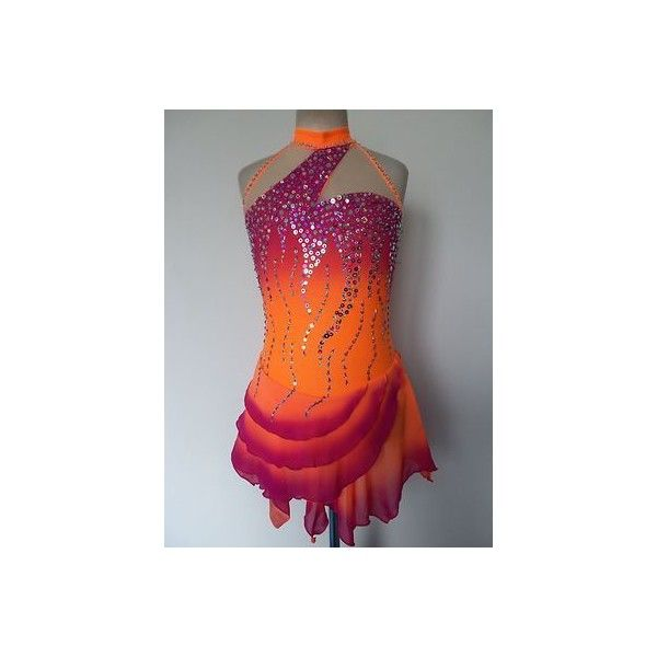 CUSTOM MADE ICE SKATING BATON TWIRLING COSTUME DRESS  | eBay ❤ liked on Polyvore featuring costumes, sport costumes, sport halloween costumes, sports halloween costumes and sports costumes