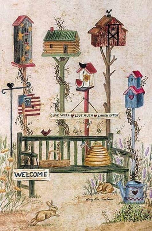 Good Folk Birdhouse Decorative House Flag By Custom Decor X Primitive