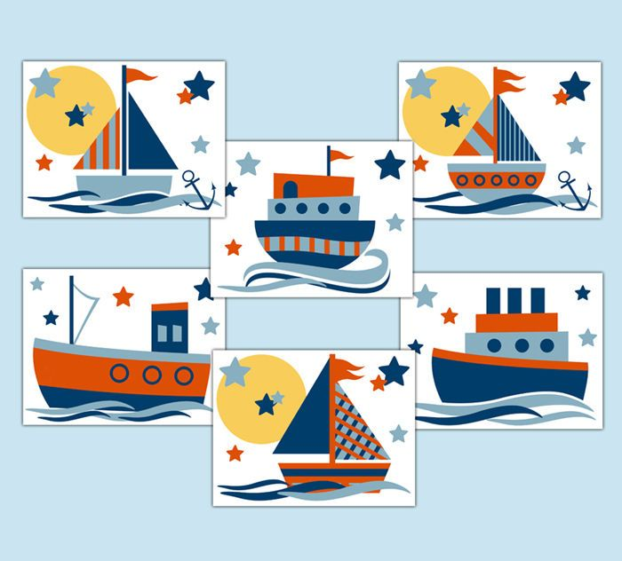 Nautical Sailboat Prints Wall Art Baby Boy Nursery Ship