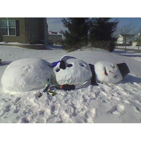 Passed Out Drunk Snowman - Image