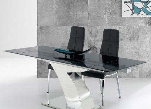 Mesa de comedor moderna, con base en acero inoxidable y tapa en cristal gris fume.