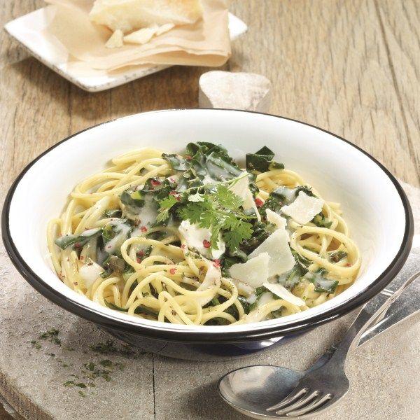 Spinaziesaus met zure room en spaghetti #WeightWatchers #WWrecept