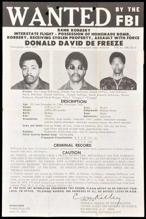 FBI Wanted poster of the Symbionese Liberation Army. Donald  DeFreeze.