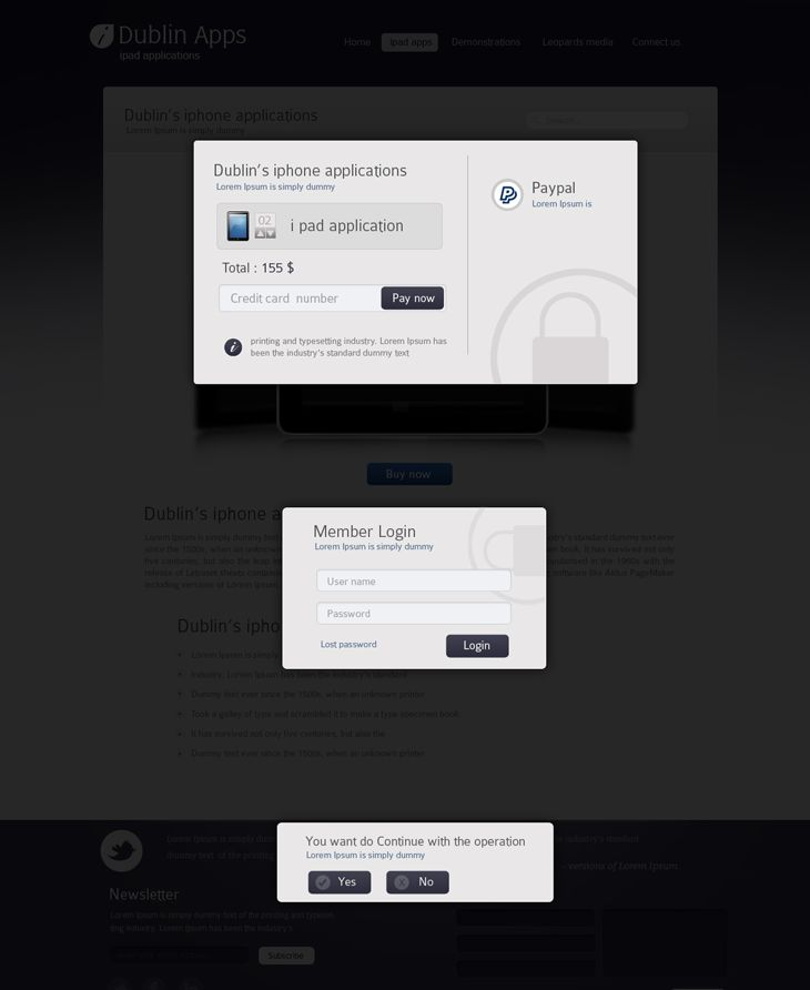 Dublin iPad Apps – Popup Payment Lightbox Confirmation