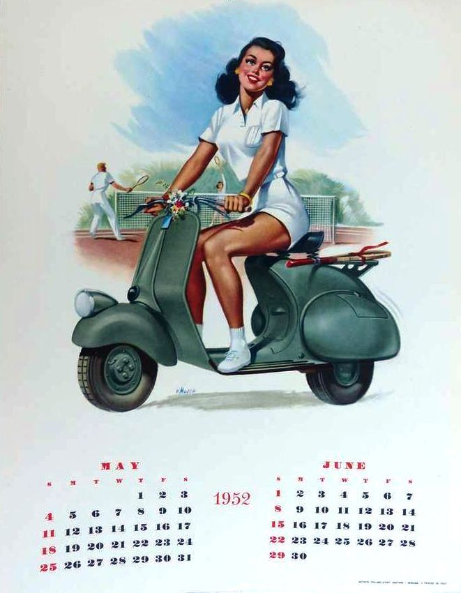 1952 Vespa calendar in english (may-jun) with tennis player pin-up by F. Mosca.  Found on 1stdibs.com