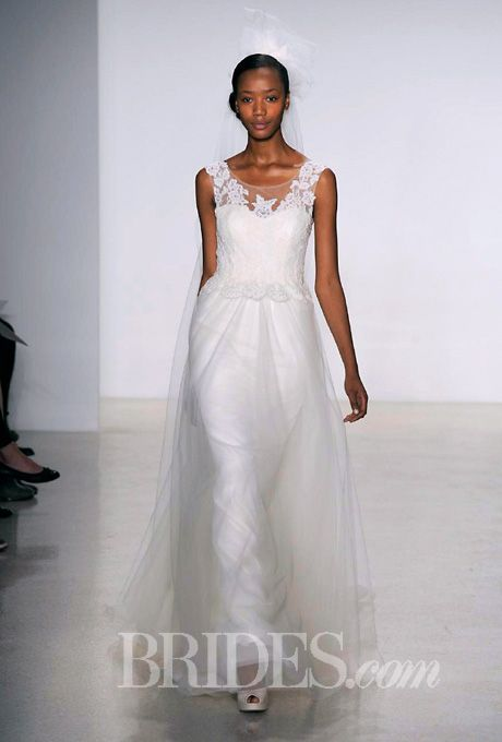 Brides.com: . Sleeveless corded lace and tulle A-line wedding dress with a scoop neckline, Christos