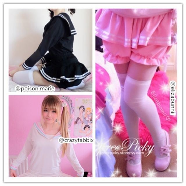 """Just have some stock checking, the apinko jumper and bloomers are only few left stock! We do not plan to make anymore in the future, so if you want them, grab them now :) They are stretchy are easy looking cute <3 model by top @poison.marie, bottom left @crazytabbix and the right is the cute @elizabunnii just search """"apinko"""" you will find them all in the store, link in bio #spreepicky #apinko #apinkoblommers #apinkojumper"""