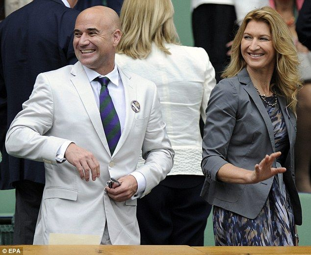 DAY 9 : Former tennis greats Andre Agassi and Steffi Graf were in the Royal Box inside Centre Court  http://www.annabelchaffer.com/