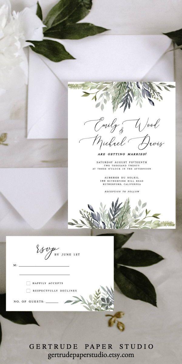 Greenery Wedding Invitations Diy Templates Colors Simple Modern Ru Diy Wedding Invitations Templates Wedding Invitations Diy Elegant Trendy Wedding Invitations