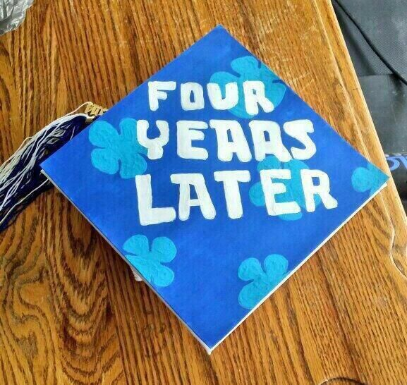Best grad cap yet... Doing this is i go to Chapel Hill since those are the colors! White and blue!!