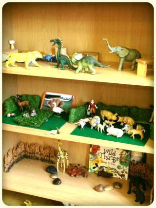 Display small world animals for chn to access, so that they can make their own environments. Add a basket of fabric squares, carpet tiles and have on offer different size rugs