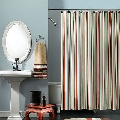 Lifestyle Striped Shower Curtain   Red, Brown, Aqua By Apt.