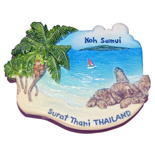 Resin Fridge Magnet: Thailand. Surat Thani. Viev to Koh Samui Island