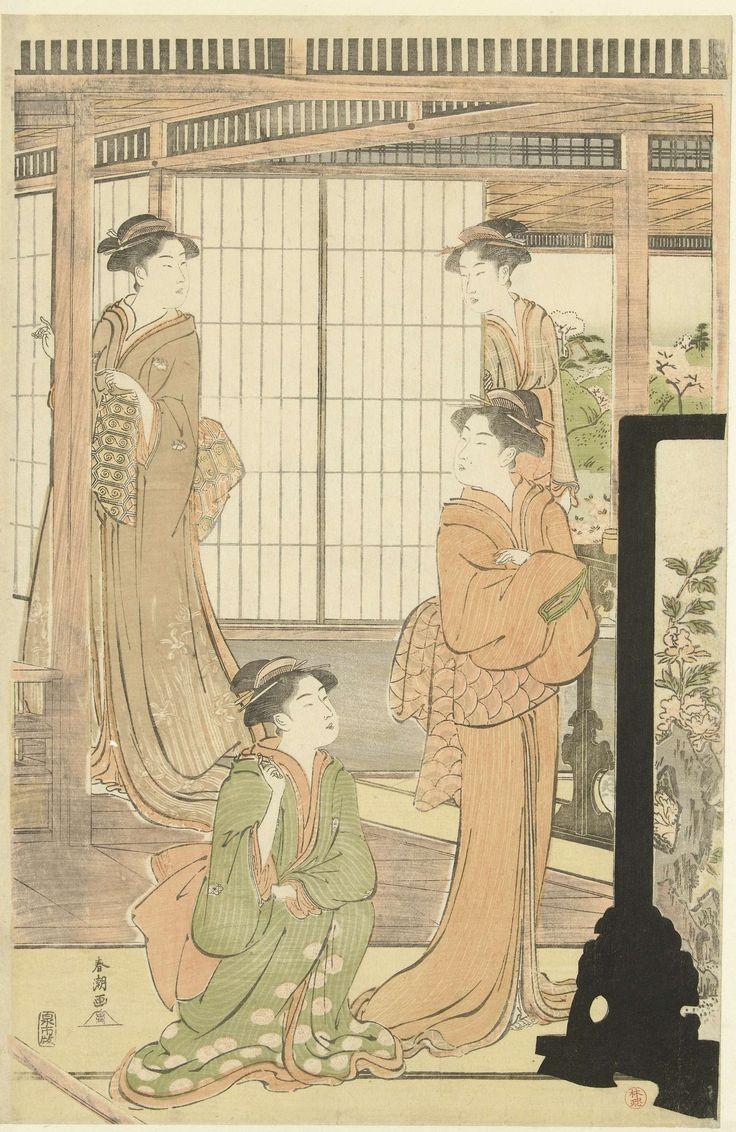Katsukawa Shuncho | Voorbereidingen voor het poppenfeest, Katsukawa Shuncho, Izumiya Ichibei (Kansendo), 1785 - 1800 | Vier vrouwen in kamer met op de achtergrond uitzicht op tuin met bloesemende bomen.