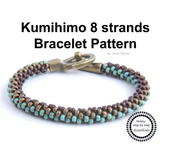 Kumihimo 8 strands bracelet pattern by Hobbystepbystep on Etsy