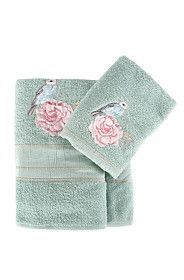 EMBROIDERED BIRD AND FLOWER TOWEL