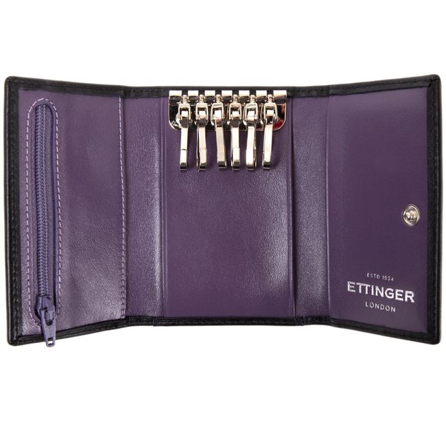 Sterling Purple 6 Hook Key Case / Sterling 6 Hook Key Case / For Her / Leather Accessories / Home - Ettinger London e-shop - Luxury Leather Wallets made in England