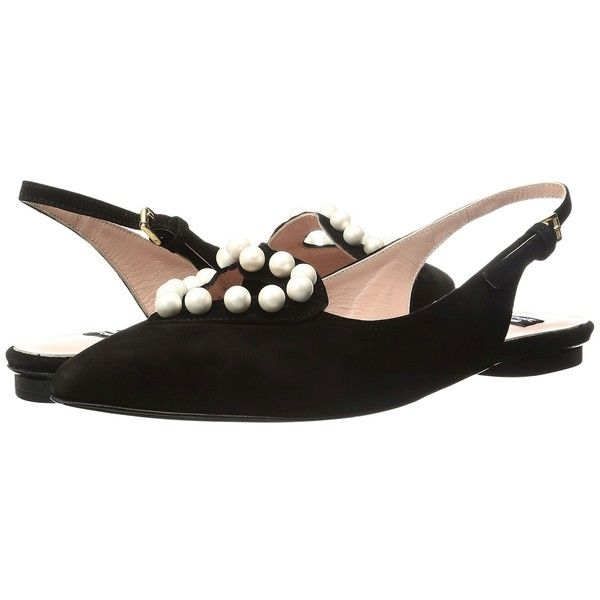 Boutique Moschino Pearl Slingback Flat (Black) Women's Flat Shoes ($365) ❤ liked on Polyvore featuring shoes, flats, black flat shoes, pointy-toe flats, pointed toe slingback flats, flat pumps and slingback flats