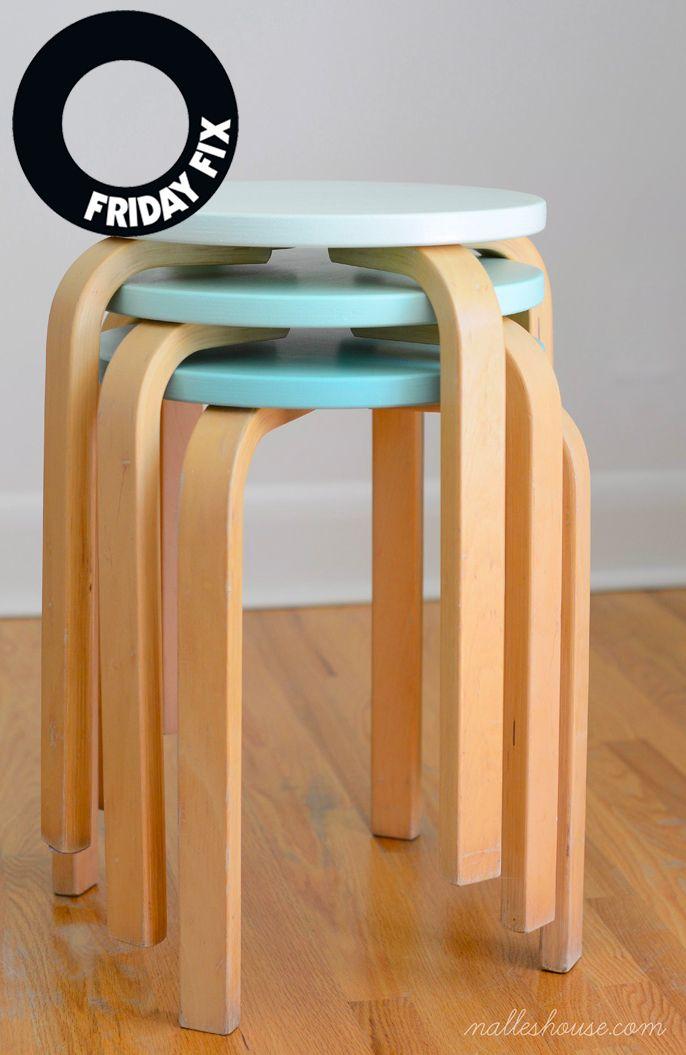 Att måla om pallar är knappast revolutionerande, men jag gillar idén att måla stapelbara pallar (eller stolar) i olika nyanser