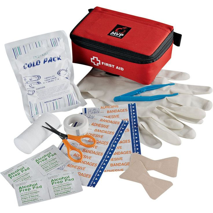 24-piece kit includes zipped nylon case, scissors, tweezers, two latex gloves, one cold pack, one elastic bandage, ten 3 inch bandages, two elastic butterfly bandages, one roll of tape and four alcohol swabs.