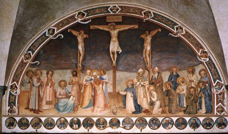 Crucifixion_with_Saints. Angelico. Распятие со святыми. Беато Анджелико. 1441-1442, Фреска. Национальный музей Сан-Марко , Флоренция.