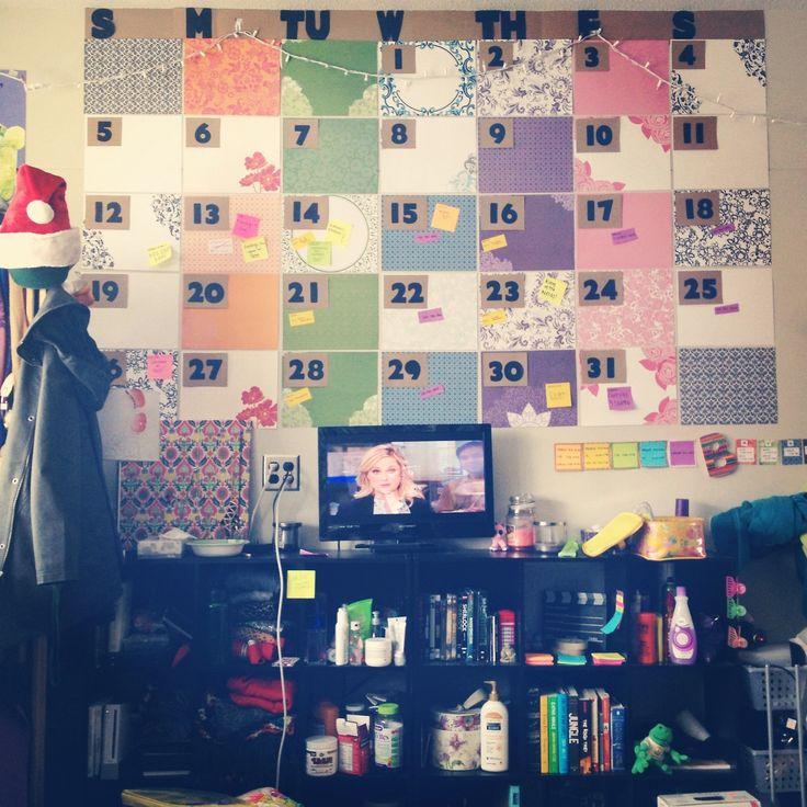 Dorm Room Wall Calendar! A Super easy and creative way to make your dorm room look cool. #diy #dormroom #walldecor #college