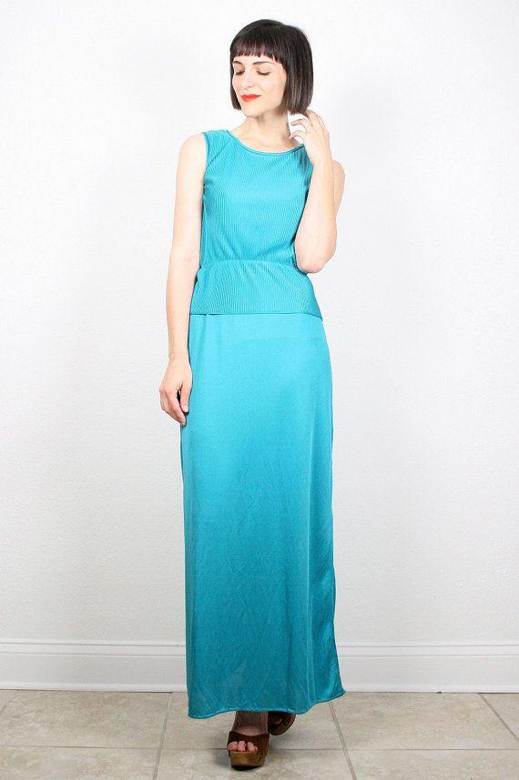 Vintage Teal Green Dress Maxi Dress Grecian Gown 1970s 70s Disco Dress Glam Pin Pleated Peplum Skirt Column Emerald Green Dress M Medium #vintage #etsy #70s #1970s #disco #maxi #dress #gown