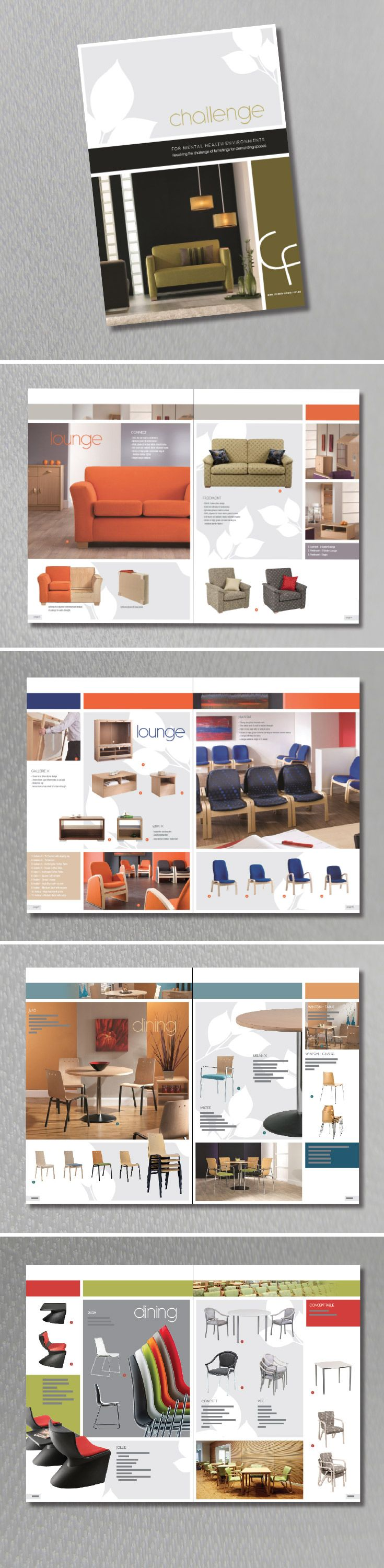 Brochure Design. Customer is Crown Furniture Brochure aimed at health & Aged Care