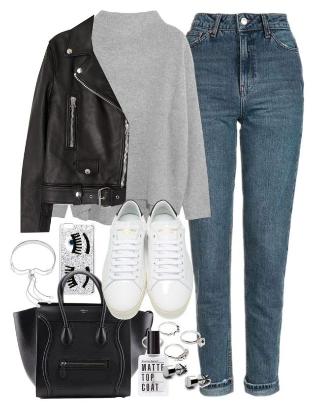 """""""Outfit with a leather jacket and boyfriend jeans"""" by ferned ❤ liked on Polyvore featuring Topshop, Vince, Acne Studios, Chiara Ferragni, Yves Saint Laurent, Monica Vinader and Lauren Klassen"""