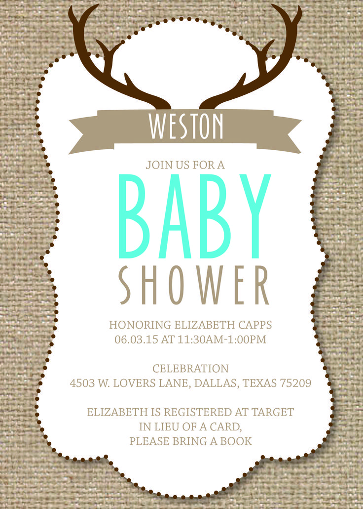 Capturing the rustic hunting theme of the baby boys room in his customized baby shower invitation