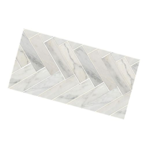 Herringbone Calacutta Honed Mosaic (47x400) 400x200 mm Beaumont Tiles
