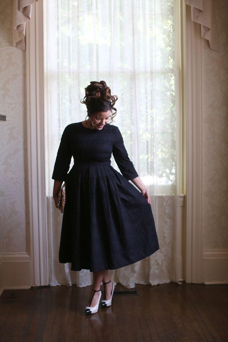 Modest black Hepburn Classic Dress. Modest bridesmaid dresses, ruffles, lace, and modest apparel.