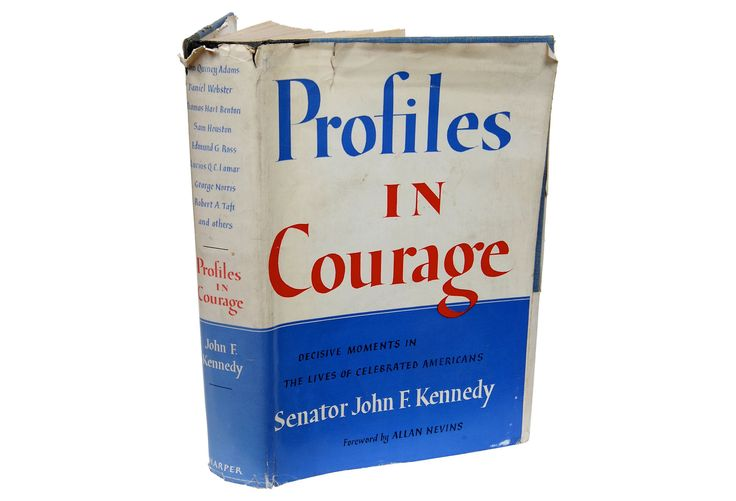 Profiles in Courage by John F. Kennedy. NY: Harper Bros., 1956. 1st Ed later printing 266p hardcover with DJ. Kennedy's third book, written during a year's convalescence after an operation for an injury suffered during the war. The book profiles senators who crossed party lines and/or defied the opinion of their constituents to do what they felt was right, suffering severe criticism and losses in popularity because of their actions. He won the Pulitzer Prize in 1957 for this book.