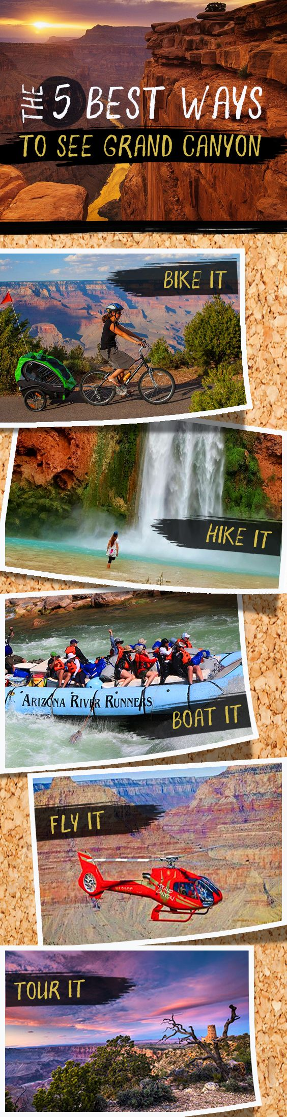 We cover the pros and cons, prices and personally try and review each of our 5 favorite ways to see Grand Canyon. Bike grand canyon, hike grand canyon, boat grand canyon, tour grand canyon or fly Grand Canyon.