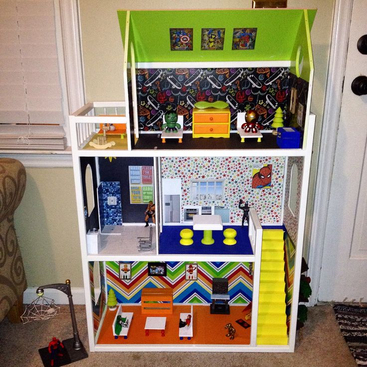 Diy Super Hero House From A 5 Yard Sale Doll House To This Homemadechristmas Momofboys I