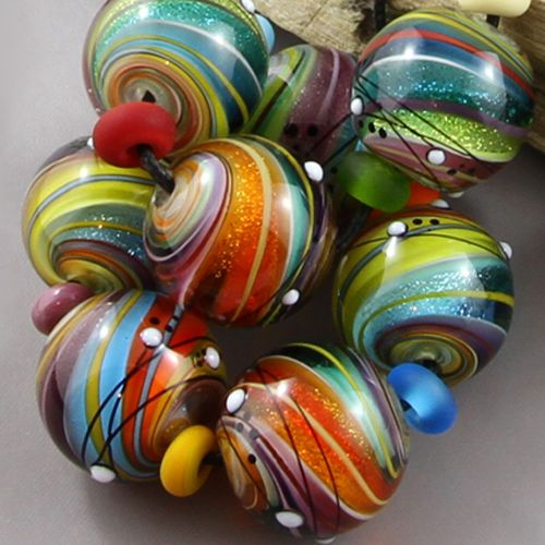 magma beads twisted dichroic minis handmade lampwork beads gorgeous colorsin