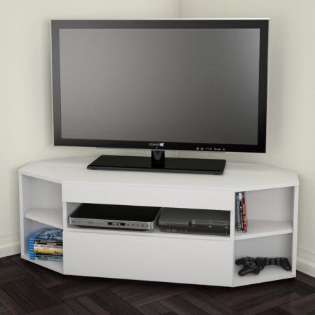 "Free Shipping. Buy Nexera Allure Ebony/White Corner TV Stand for TVs up to 48"" at Walmart.com"