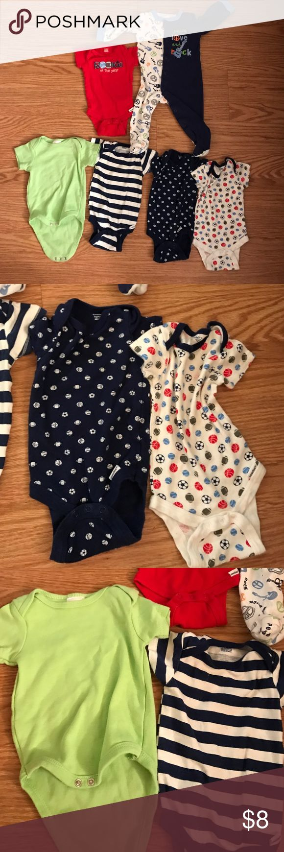 6 piece lot of 3-6 month baby boy onesies 5 short sleeve onesies and one long sleeve footie pajamas. Various brands.  No rips or stains but some have been used more than others. check out my other baby listings as well.My PRICE IS FIRM on all items $10 and under so no offers on this unless you bundle to receive a discount. gerber One Pieces Bodysuits