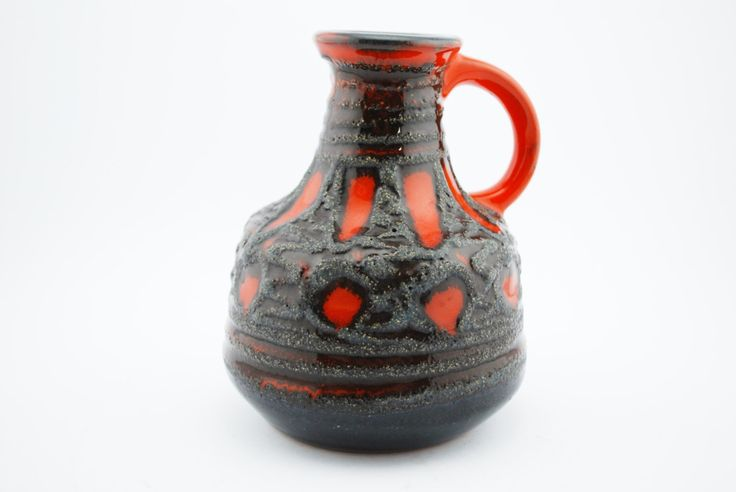 VEB Haldensleben 4077 Orange, Grey and Black lava vase Vintage East-Germany by VintageDesignVault on Etsy https://www.etsy.com/no-en/listing/274367816/veb-haldensleben-4077-orange-grey-and