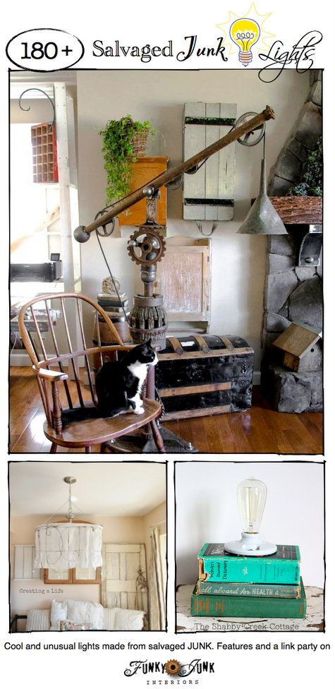 Party Junk 211 - Salvaged Junk Lights. Creative DIY lighting features with a themed link party. Come link up or just be inspired! This linkup is always open. via http://www.funkyjunkinteriors.net/
