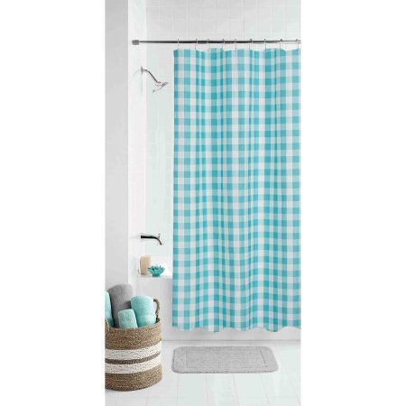 Mainstays Gingham Teal Shower Curtain, Blue