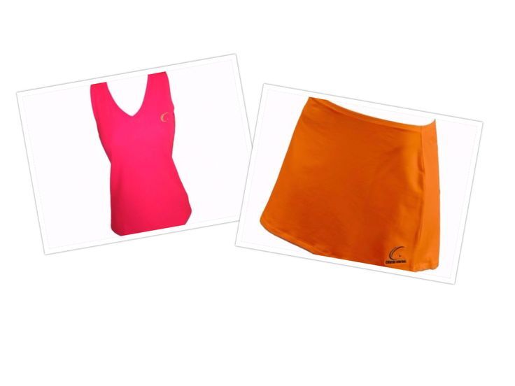 Our fuchsia coral fire sleeveless performance tee and cool clementine orange skirt make the perfect doubles team!