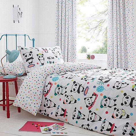 bluezoo Kids' white 'Pandas' duvet cover and pillow case set | Debenhams