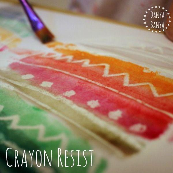 Kids art idea - children love revealing the secret 'magic' pattern using this crayon resist and watercolour painting technique. ~ Danya Banya
